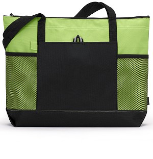 Apple Green Zipper Panel Tote